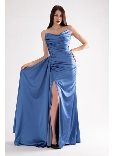 Belamore  Straplez Drapeli Detaylı Yırtmaçlı Saten Kumaş Abiye&Mezuniyet Elbisesi 1607209.98 İndigo